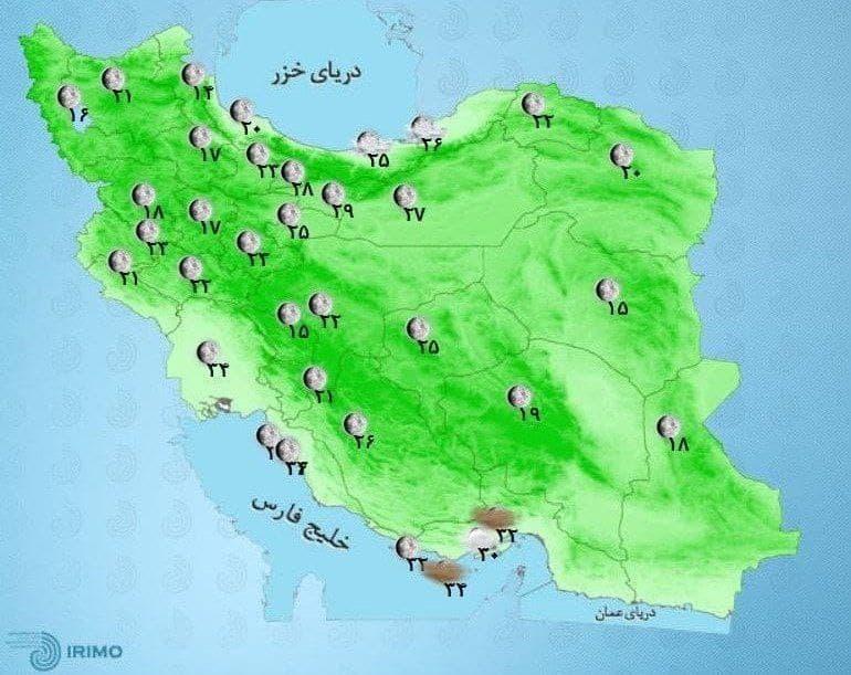 وضعیت آب و هوا، امروز ۲۴ شهریور ۱۴۰۰ / آغاز بارندگیهای دو روزه در شمال و شمال غرب کشور از روز جمعه